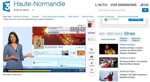 La Fête Des Normands dans la Revue du Web de France 3 Haute Normandie