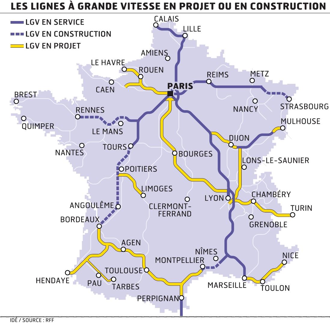 Carte France Tgv Carte Des Lignes de Tgv