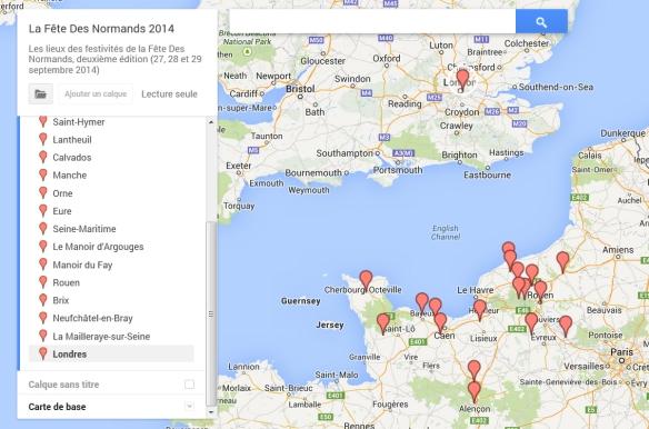 Carte des participants Fête Des Normands à la mi mai 2014