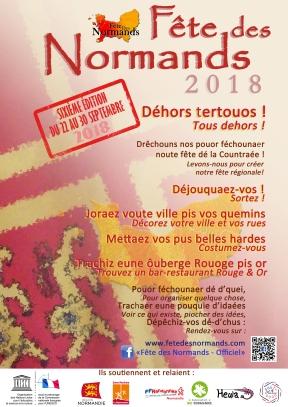 L'affiche pour toutes les festivités partout, en normand ! https://fetedesnormands.com/tracts-affiches/